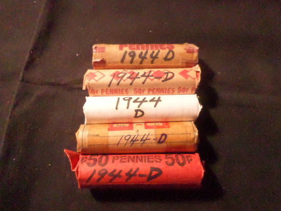 5 ROLLS  OF 1944 D WHEAT PENNIES