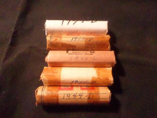 5 ROLLS  OF 1944 D WHEAT PENNIES