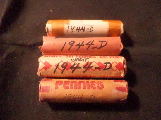 4 ROLLS  OF 1944 D WHEAT PENNIES