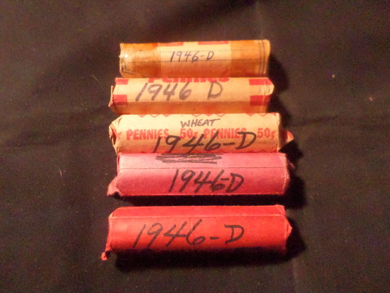 5 ROLLS  OF 1946 D WHEAT PENNIES
