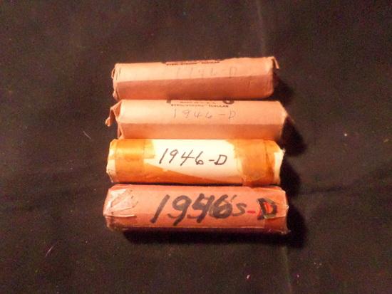 4 ROLLS OF 1946 D WHEAT PENNIES