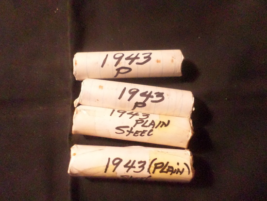 4 ROLLS OF 1943 WHEAT PENNIES