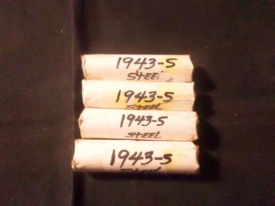 4 ROLLS  OF 1943 S  WHEAT PENNIES
