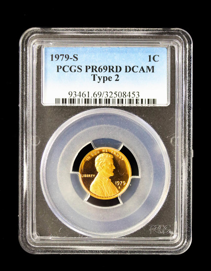 1979 S LINCOLN CENT **TYPE 2** PENNY COIN PCGS PR69 RED DCAM
