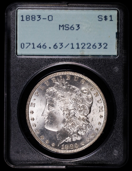 1883 O MORGAN SILVER DOLLAR COIN PCGS RATTLER MS63