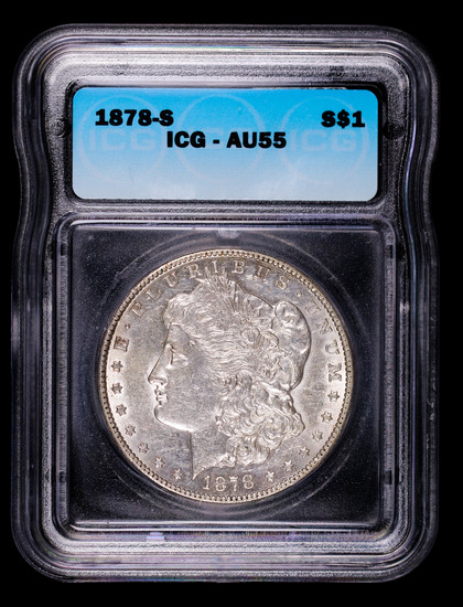 1878 S MORGAN SILVER DOLLAR COIN ICG AU55