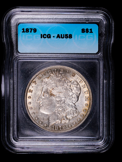 1879 MORGAN SILVER DOLLAR COIN ICG AU58