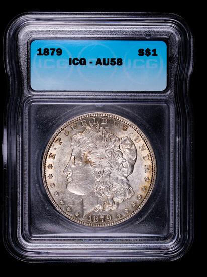 1879 MORGAN SILVER DOLLAR COIN ICG AU58