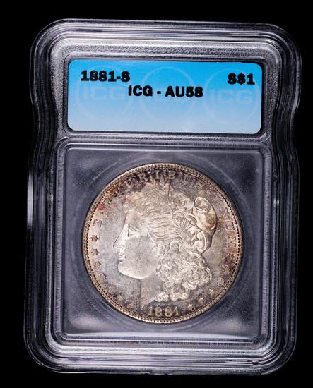 1881 S MORGAN SILVER DOLLAR COIN ICG AU58