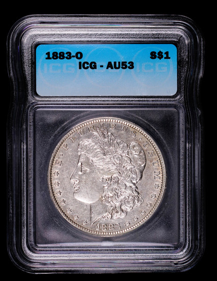 1883 O MORGAN SILVER DOLLAR COIN ICG AU53