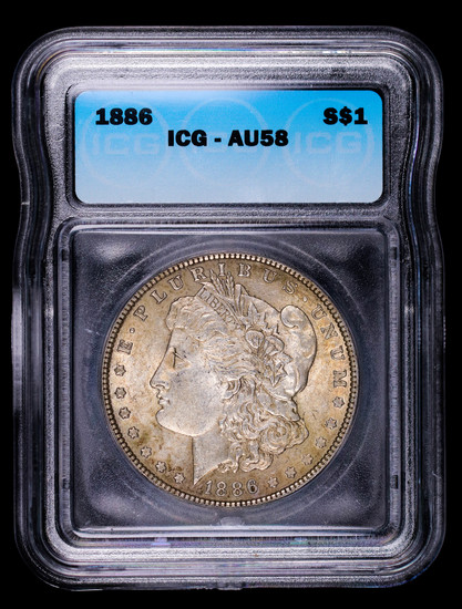 1886 MORGAN SILVER DOLLAR COIN ICG AU58