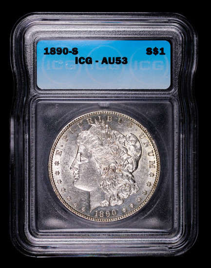1890 S MORGAN SILVER DOLLAR COIN ICG AU53