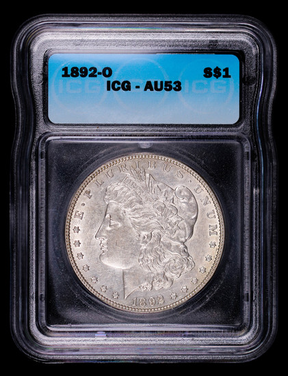 1892 O MORGAN SILVER DOLLAR COIN ICG AU53
