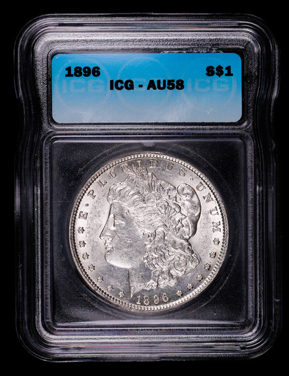 1896 MORGAN SILVER DOLLAR COIN ICG AU58