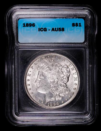 1896 MORGAN SILVER DOLLAR COIN ICG AU58