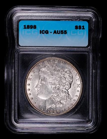 1898 MORGAN SILVER DOLLAR COIN ICG AU55