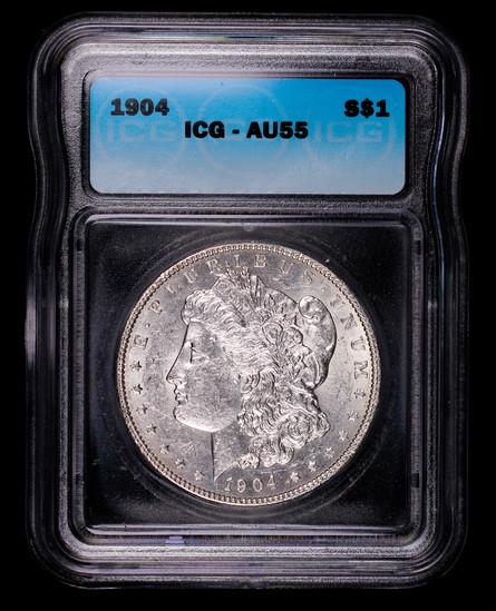 1904 MORGAN SILVER DOLLAR COIN ICG AU55