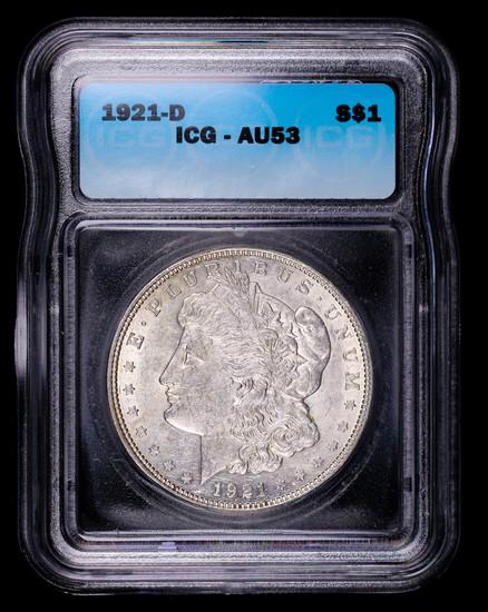 1921 D MORGAN SILVER DOLLAR COIN ICG AU53