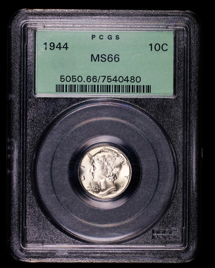 1944 MERCURY SILVER DIME COIN MS66