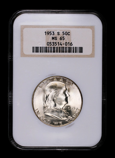 1953 S FRANKLIN SILVER HALF DOLLAR COIN NGC MS65