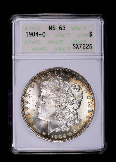1904 O MORGAN SILVER DOLLAR COIN ANACS MS63 TONED!!