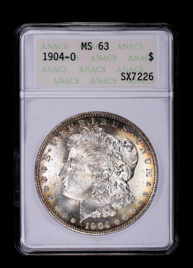 1904 O MORGAN SILVER DOLLAR COIN ANACS MS63 TONED!!