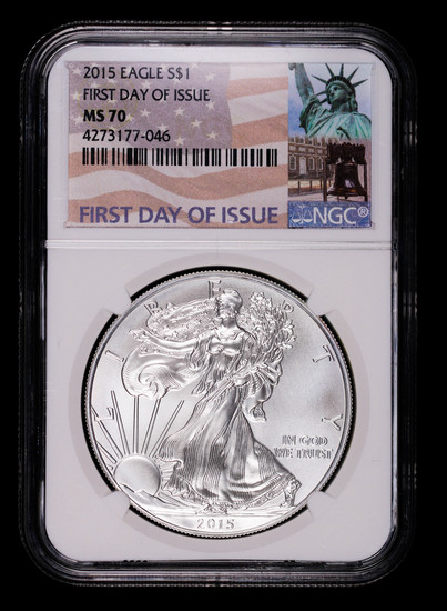 2015 1oz AMERICAN SILVER EAGLE COIN NGC MS70 FIRST DAY ISSUE