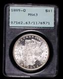 1885 O MORGAN SILVER DOLLAR COIN PCGS RATTLER MS63