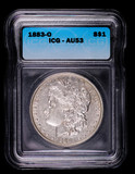 1883 O MORGAN SILVER DOLLAR COIN ICG AU53