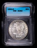 1890 S MORGAN SILVER DOLLAR COIN ICG AU53