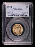 1950 D JEFFERSON NICKEL COIN PCGS MS65