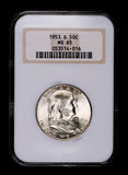 1953 S FRANKLIN SILVER HALF DOLLAR COIN NGC MS65