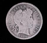1906 BARBER SILVER DIME COIN