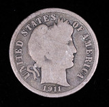 1911 BARBER SILVER DIME COIN