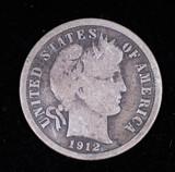 1912 BARBER SILVER DIME COIN