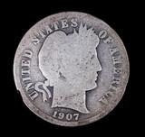 1907 BARBER SILVER DIME COIN