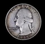 1935 D WASHINGTON SILVER QUARTER DOLLAR COIN