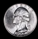 1947 D WASHINGTON SILVER QUARTER DOLLAR COIN GEM BU UNC MS+++
