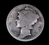 1916 S MERCURY SILVER DIME COIN