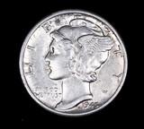 1945 D MERCURY SILVER DIME COIN GEM BU UNC MS+++