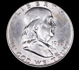 1953 D FRANKLIN SILVER HALF DOLLAR COIN GEM BU UNC MS+++