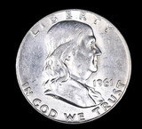 1961 D FRANKLIN SILVER HALF DOLLAR COIN GEM BU UNC MS+++