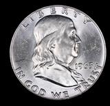 1963 D FRANKLIN SILVER HALF DOLLAR COIN GEM BU UNC MS+++