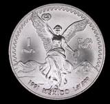 1991 1oz .999 FINE SILVER LIBERTAD MEXICO ROUND