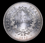 1977 FRANCE 50 FRANCS SILVER COIN