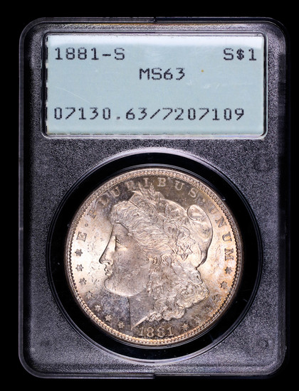 1881 S MORGAN SILVER DOLLAR COIN OLD RATTLER PCGS MS63