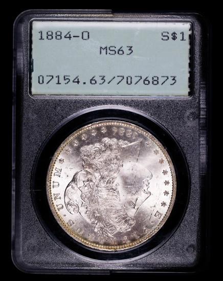 1884 O MORGAN SILVER DOLLAR COIN OLD RATTLER PCGS MS63