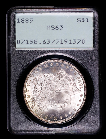 1885 MORGAN SILVER DOLLAR COIN OLD RATTLER PCGS MS63