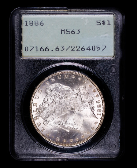 1886 MORGAN SILVER DOLLAR COIN OLD RATTLER PCGS MS63