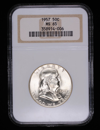 1957 FRANKLIN SILVER HALF DOLLAR COIN NGC MS65